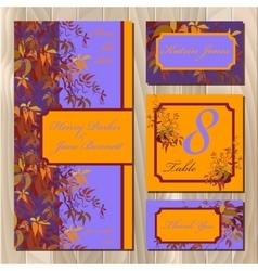 Autumn wild grape wedding card printable vector