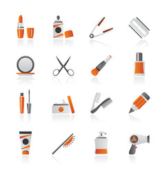 beauty and cosmetics icons vector image