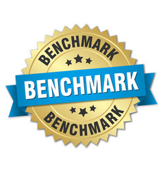 Benchmark round isolated gold badge vector