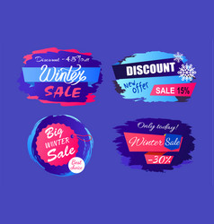 big winter sale discount off new offer tags set vector image