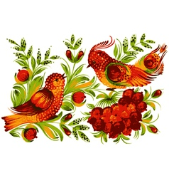 Bird viburnum and flower vector image