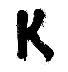Blot letter k black and white vector
