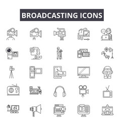 Broadcasting line icons for web and mobile design vector