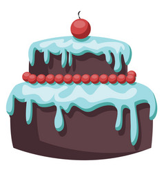 brown cake with light blue icing and red cherry vector image