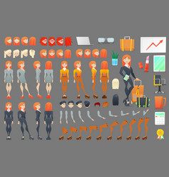 Business woman character creation constructor vector
