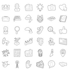businessman icons set outline style vector image
