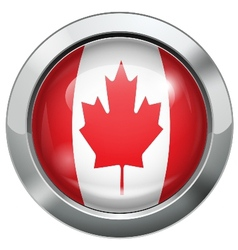 Canada flag metal button vector image