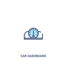 Car dashboard concept 2 colored icon simple line vector