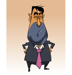 Cartoon disgruntled man in a suit standing vector