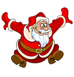 cartoon Santa Claus jumping with joy vector image