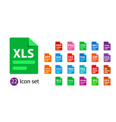 collection icons file format extensions vector image