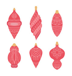 collection red hand drawn christmas ball vector image