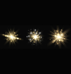 Collection star burst glow with sparkles vector