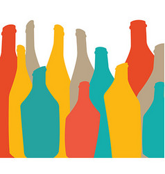Colored background with bottles of alcohol vector