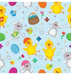 Colored Easter eggs bunnies baskets flowers vector image