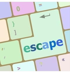 Computer keyboard key with escape word vector