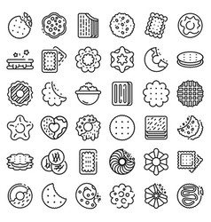 Cookie icons set outline style vector