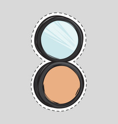 cosmetic makeup powder in black round plastic case vector image