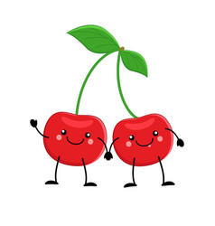 cute cartoon cherry kawaii cherry vector image