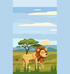 cute cartoon lion on background landscape savannah vector image