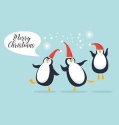 cute funny pengguins vector image