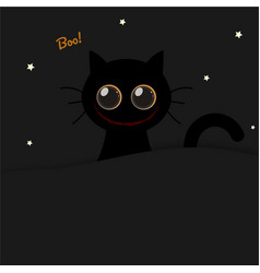 cute round eyes scary smile halloween black cat vector image