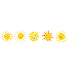 cute suns sunshine emoji smiling faces vector image