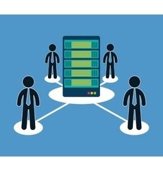 Database optimization people hosting icon vector