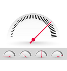 Dial meter templates with red needle at 5 stages vector