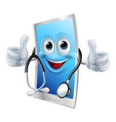 Doctor phone with stethoscope vector