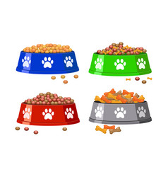 dog bowl with dog footprints and dog food vector image