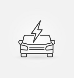 electric car front view icon in thin line style vector image