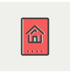 Electronic keycard thin line icon vector image