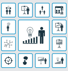 executive icons set with statistical report vector image