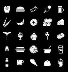 Fast food icons on black background vector