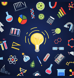 flat style science icons lightbulb concept vector image