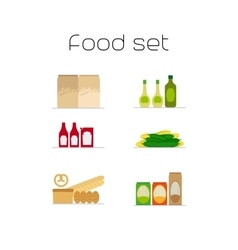 Foods market flat icons set vector