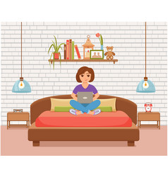 freelancer happy young woman working on the bed vector image