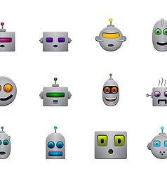 funny retro robots smilies set with colour faces vector image vector image