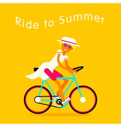 Girl On Bike Text vector image