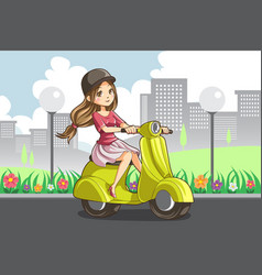 girl riding scooter vector image