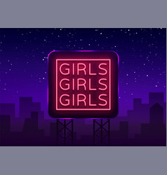 Girls neon sign night light sign erotica vector