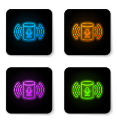 glowing neon voice assistant icon isolated on vector image