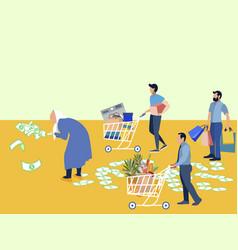 Grandmother millionaire scatters money assistants vector