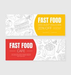 hand drawn fast food restaurant horizontal vector image