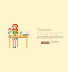 Handmade web banner with woman sitting at table vector