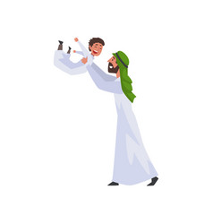 happy father playing with his little son muslim vector image