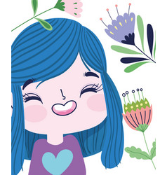 Happy girl with flowers petals stem nature botany vector