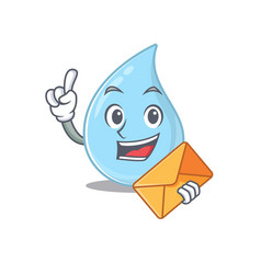 Happy raindrop mascot design with brown envelope vector