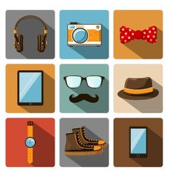 Hipster accessories pictograms set vector image